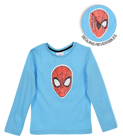 Spiderman Boys Long Sleeve Top with Reversible Sequins 2-8 years - Light Blue
