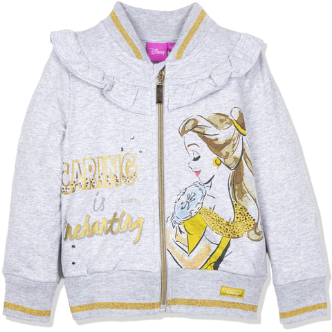 Disney Princess Girls Warm Zipped Jumper 95% Cotton 2-6 Years - Grey, Beauty
