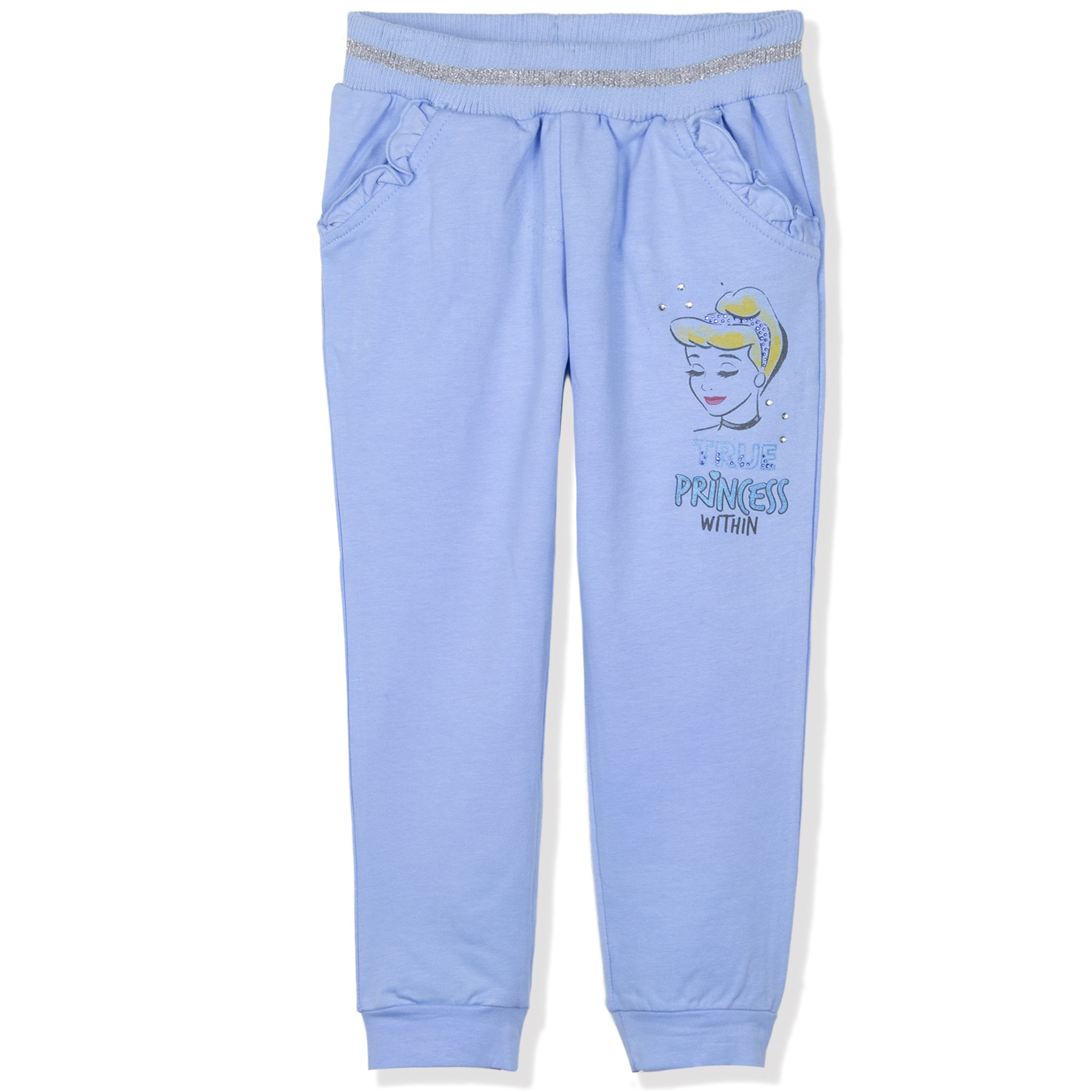 Disney Princess Girls Warm Joggers, Trousers 95% Cotton 2-6 Years - Blue