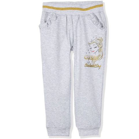 Disney Princess Girls Warm Joggers, Trousers 95% Cotton 2-6 Years - Grey