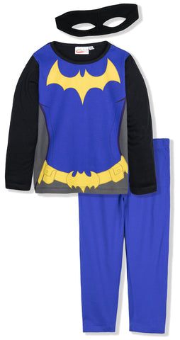 DC SuperHero Girls Long Sleeve Cotton Pyjamas Set 3-10 Years - Black/Blue