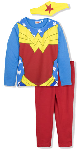 DC SuperHero Girls Long Sleeve Cotton Pyjamas Set 3-10 Years - Blue/Red