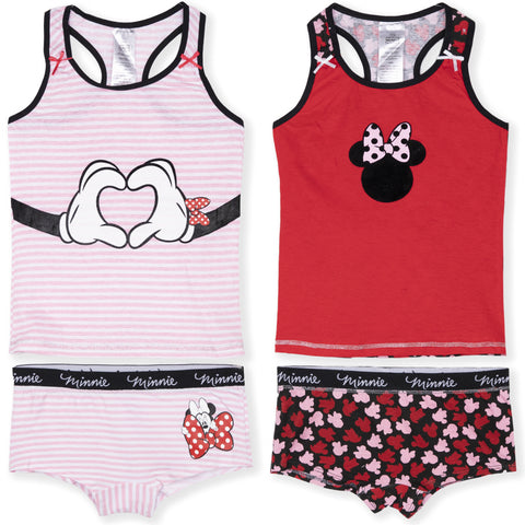 Disney Minnie Mouse Girls Underwear Sets - Pack of 2 Vests and 2 Boxers 4-12 Years