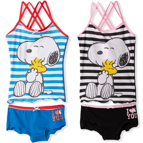 Peanuts Snoopy Dog Girls Underwear Sets Pack of 2 Vests and 2 Knickers 6-14 years