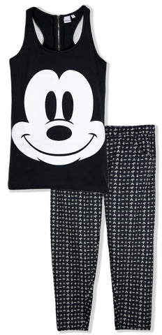Disney Mickey Mouse Women's Ladies Pyjamas Pjs Set S, M, L, XL - Black