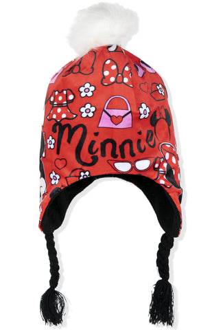 Disney Minnie Mouse Polar Fleece, Winter Hat Trapper / Peruvian Style 2-8 Years - Red