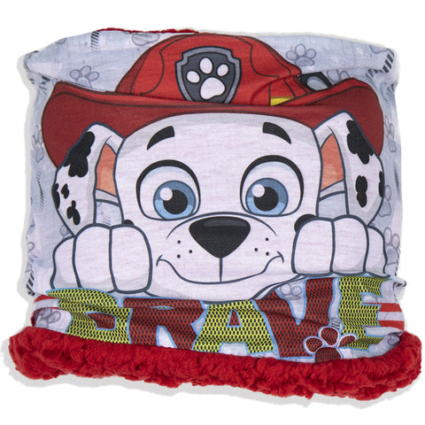 Paw Patrol Boys Snood, Neck Warmer Sherpa Coral Fleece 1-8 Years - Red