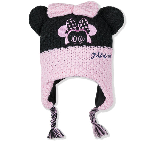 Disney Minnie Mouse Baby Girls Winter Hat Crochet Cotton Fabric 0-2 Years - Pink