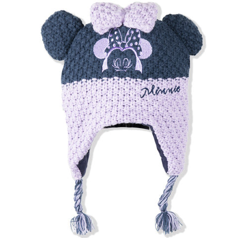 Disney Minnie Mouse Baby Girls Winter Hat Crochet Cotton Fabric 0-2 Years - Purple