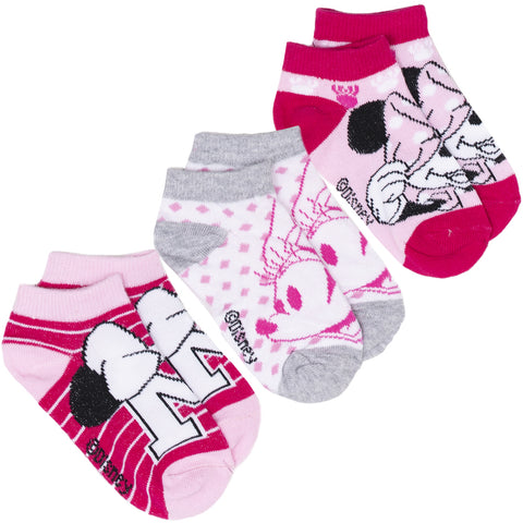 Disney Minnie Mouse Girls Socks 3-PACK Set Ankle Trainer Children's Socks  - Grey