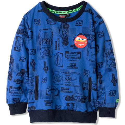 Disney Pixar Cars Boys Lighting McQueen Jumper, Sweatshirt 2-8 Years - Blue