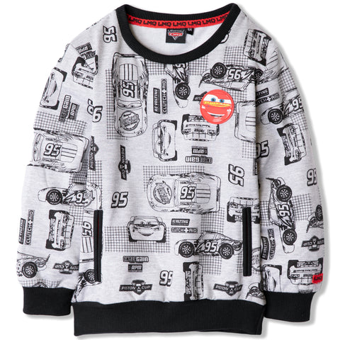 Disney Pixar Cars Boys Lighting McQueen Jumper, Sweatshirt 2-8 Years - Grey
