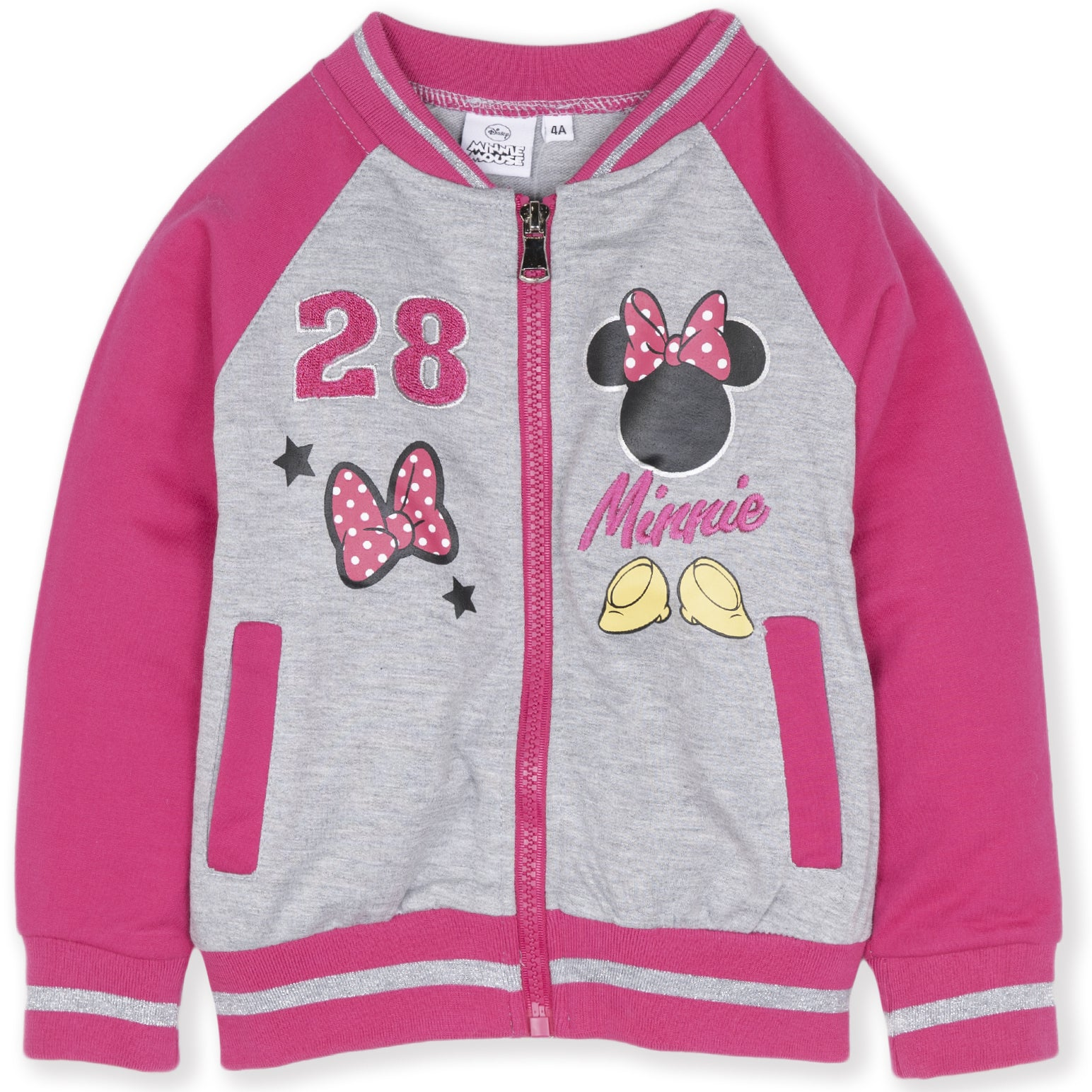 899404b8184a Disney Minnie Mouse Girls Baseball, Jumper Sweatshirt 2-8 Years - Fuchsia  ...