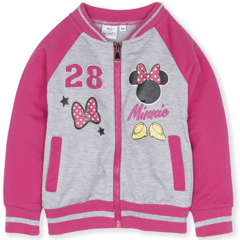 Disney Minnie Mouse Girls Baseball, Jumper Sweatshirt 2-8 Years - Fuchsia