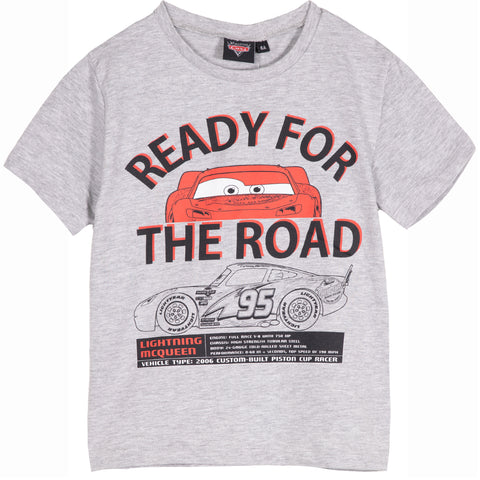 Disney Pixar Cars Boy's Cotton Made Short Sleeve Top T-Shirt 2-8 Years - Grey
