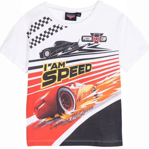 Disney Pixar Cars Boy's Cotton Made Short Sleeve Top T-Shirt 2-8 Years - White