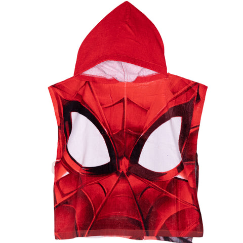 Spiderman Marvel Boy's Hooded Poncho Towel 100% Cotton 1-6 Years - Red