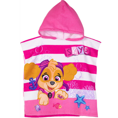 Pw Patrol Girls Hooded Poncho Towel Microfiber 1-6 Years - Pink