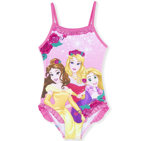 Disney Princess Girls One Piece Swimsuit, Swimming Costume 2-6 Years - Pink