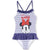 Disney Minnie Mouse One Piece Swimming Costume with Skirt 2-8 Years - Blue Stripes