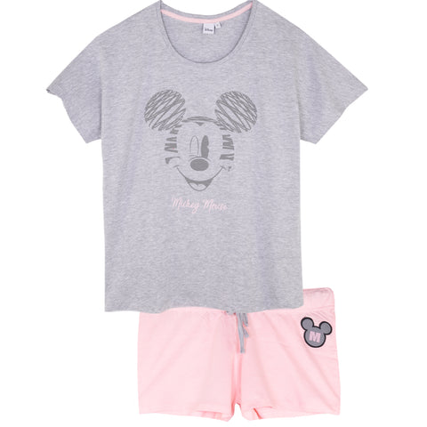 Disney Mickey Mouse Women's Short Sleeve Pyjamas Set Oversized S, M, L, XL - Grey
