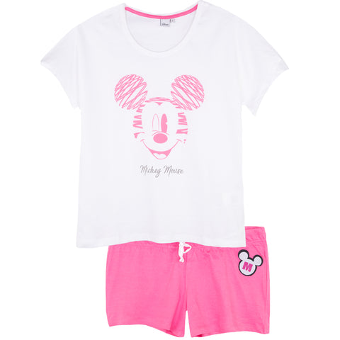 Disney Mickey Mouse Women's Short Sleeve Pyjamas Set Oversized S, M, L, XL - White