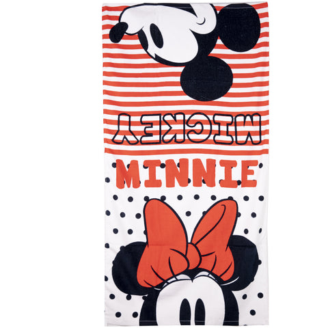 Disney Minnie & Mickey Mouse Cotton Beach Bath Towel 70 X 140 cm - White