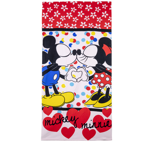 Disney Minnie & Mickey Mouse Girls Microfibre Beach Bath Towel 70 X 140 cm - Red