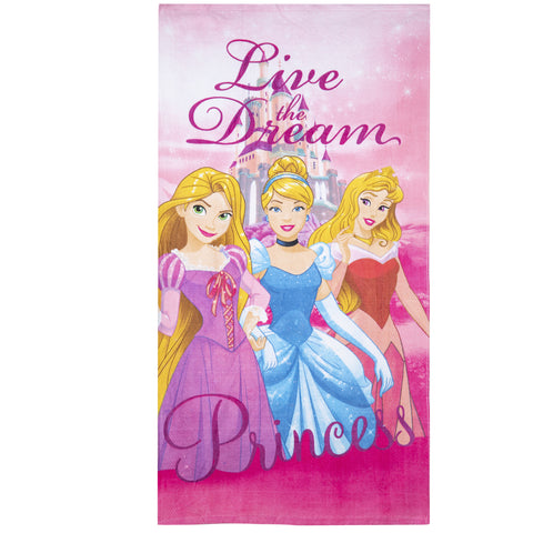 Disney Princess Girls Beach Bath Towel 70 X 140 cm made with Cotton Majority - Pink