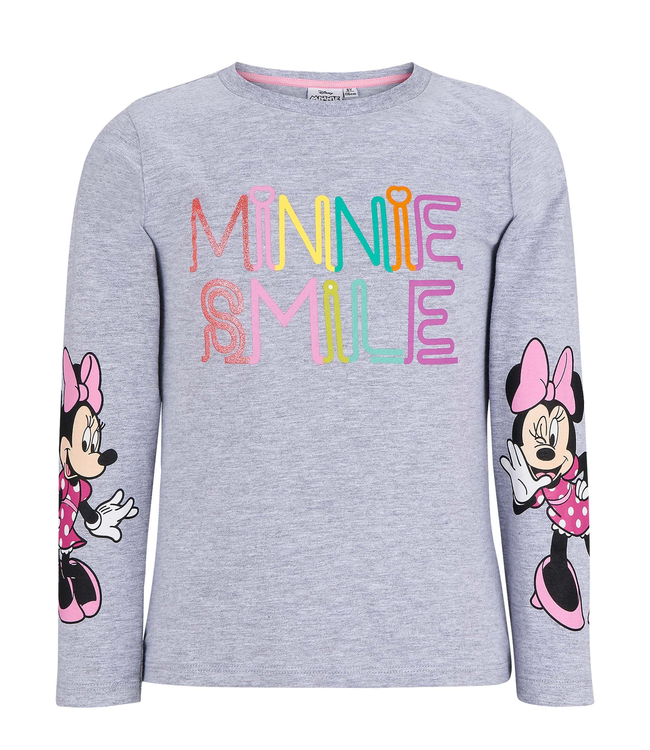 Disney Minnie Mouse Girls Long Sleeve Cotton Top T-Shirt Shirts Tees 2-8 Yrs