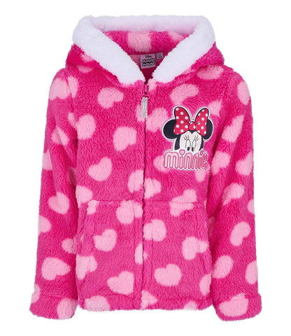 Disney Minnie Mouse Girls Coral Fleece Warm Hooded Jacket, Hoodie 1-8 Years