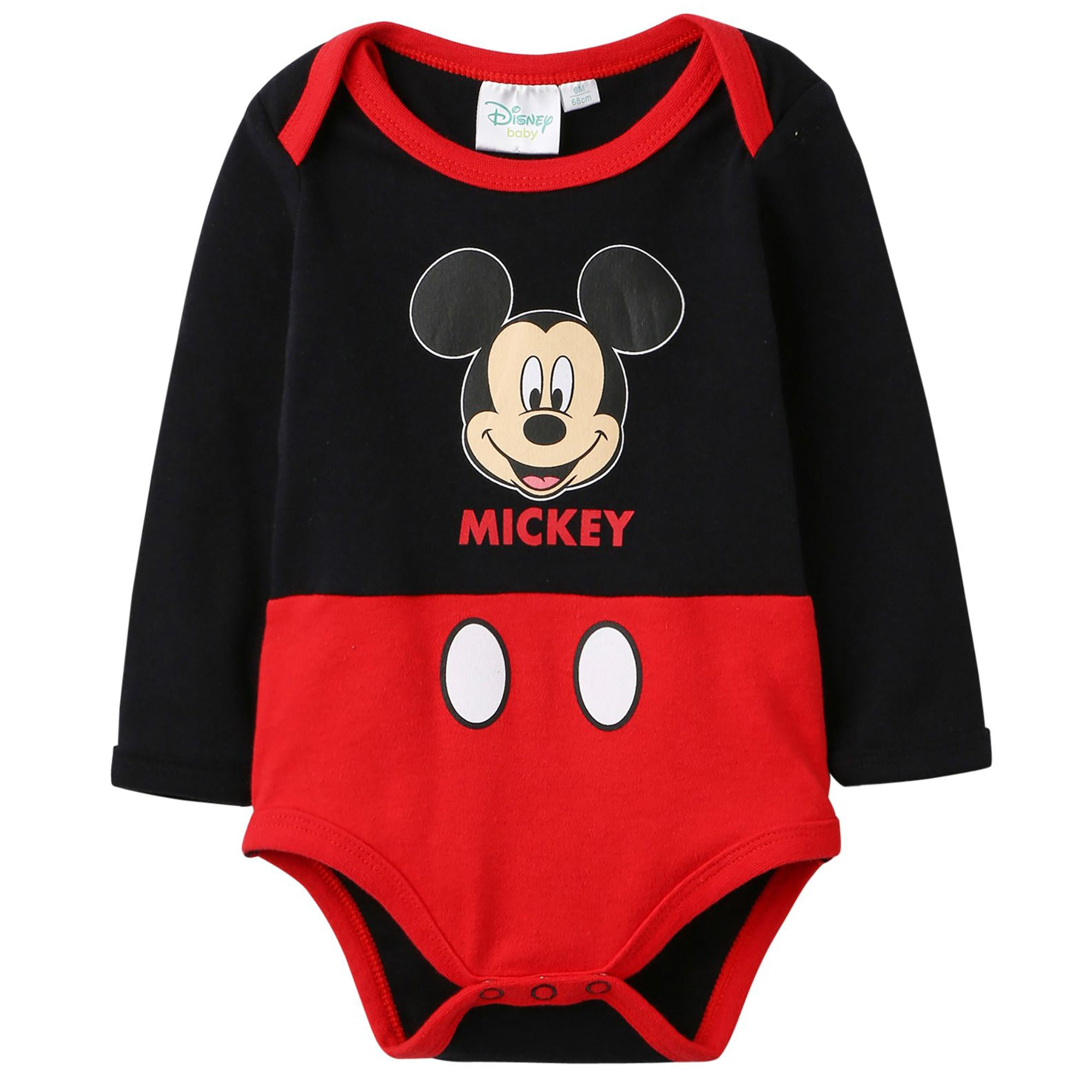 Disney Mickey Mouse Baby Boys Long Sleeve Bodysuit 100% Cotton 0-24 Months - Black