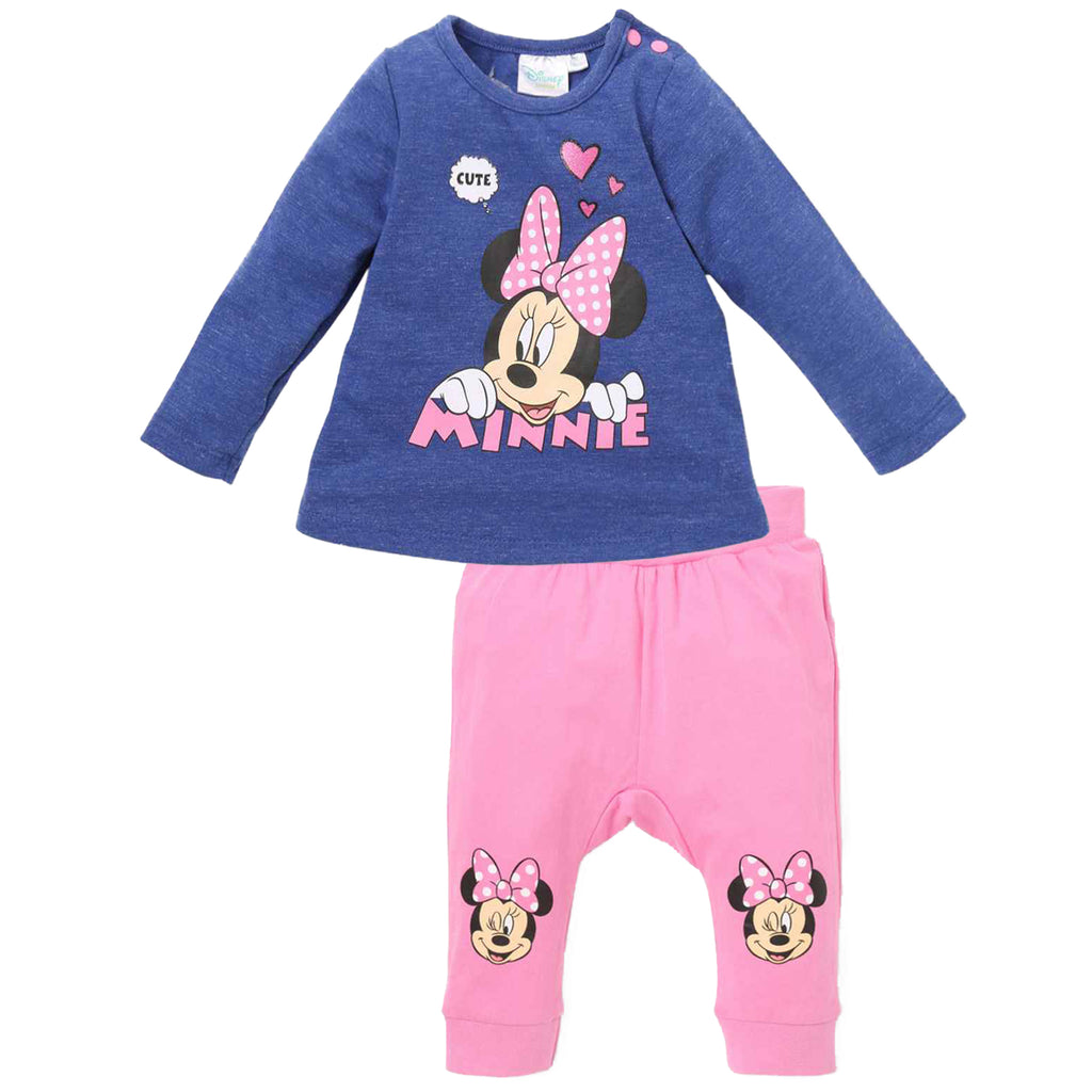 Disney Minnie Mouse Baby Girls Outfit Set of Long Top and Trousers 0-24 Months - Blue