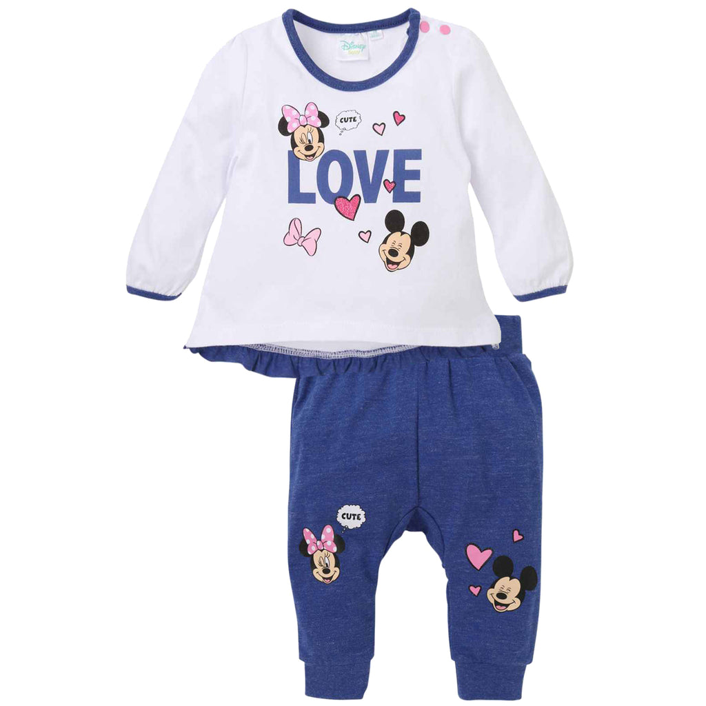 Disney Minnie Mouse Baby Girls Outfit Set of Long Top and Trousers 0-24 Months - White