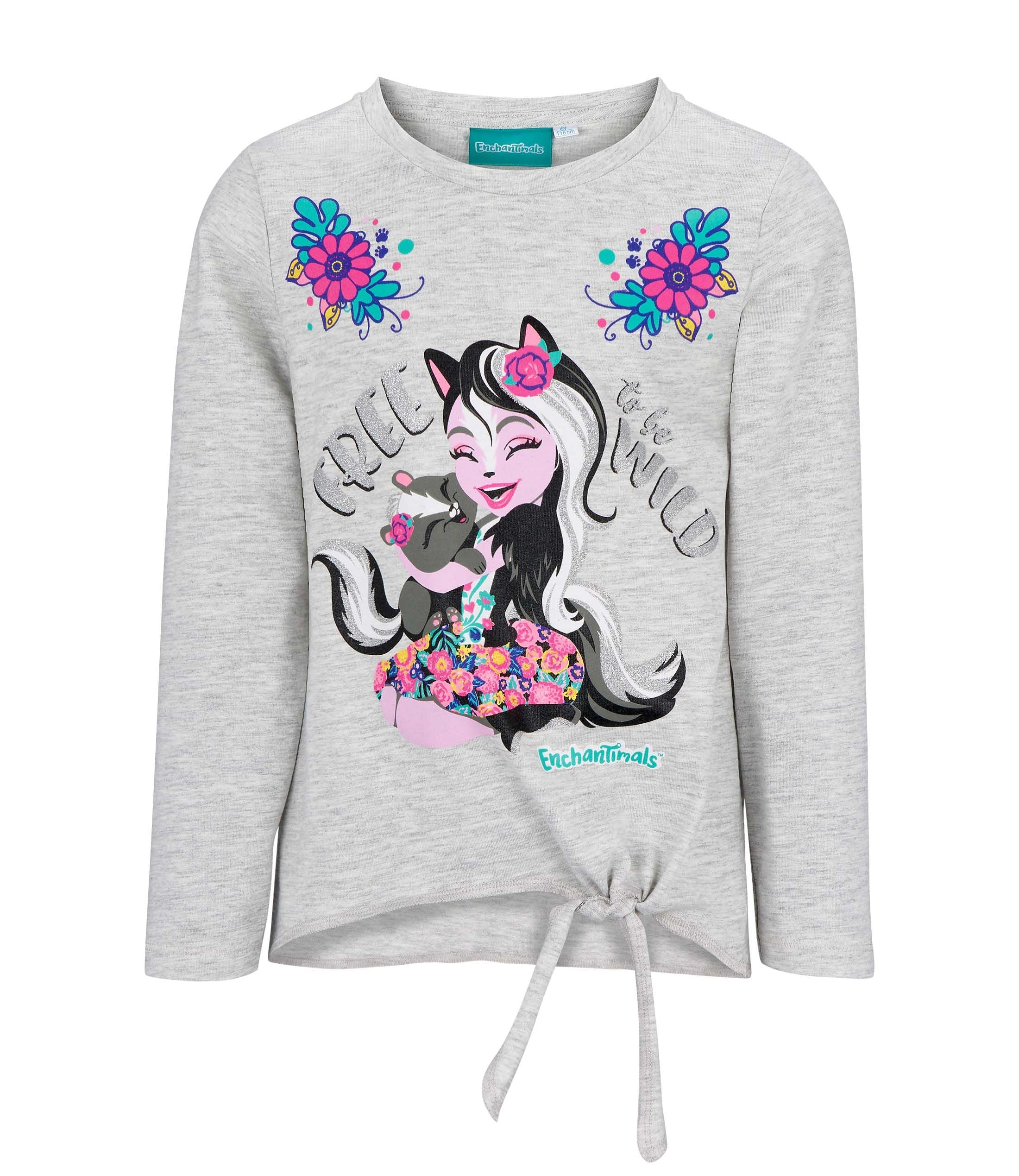 Enchantimals Girls Long Sleeve Cotton Rich Top T-Shirt 2-8 Years - Grey