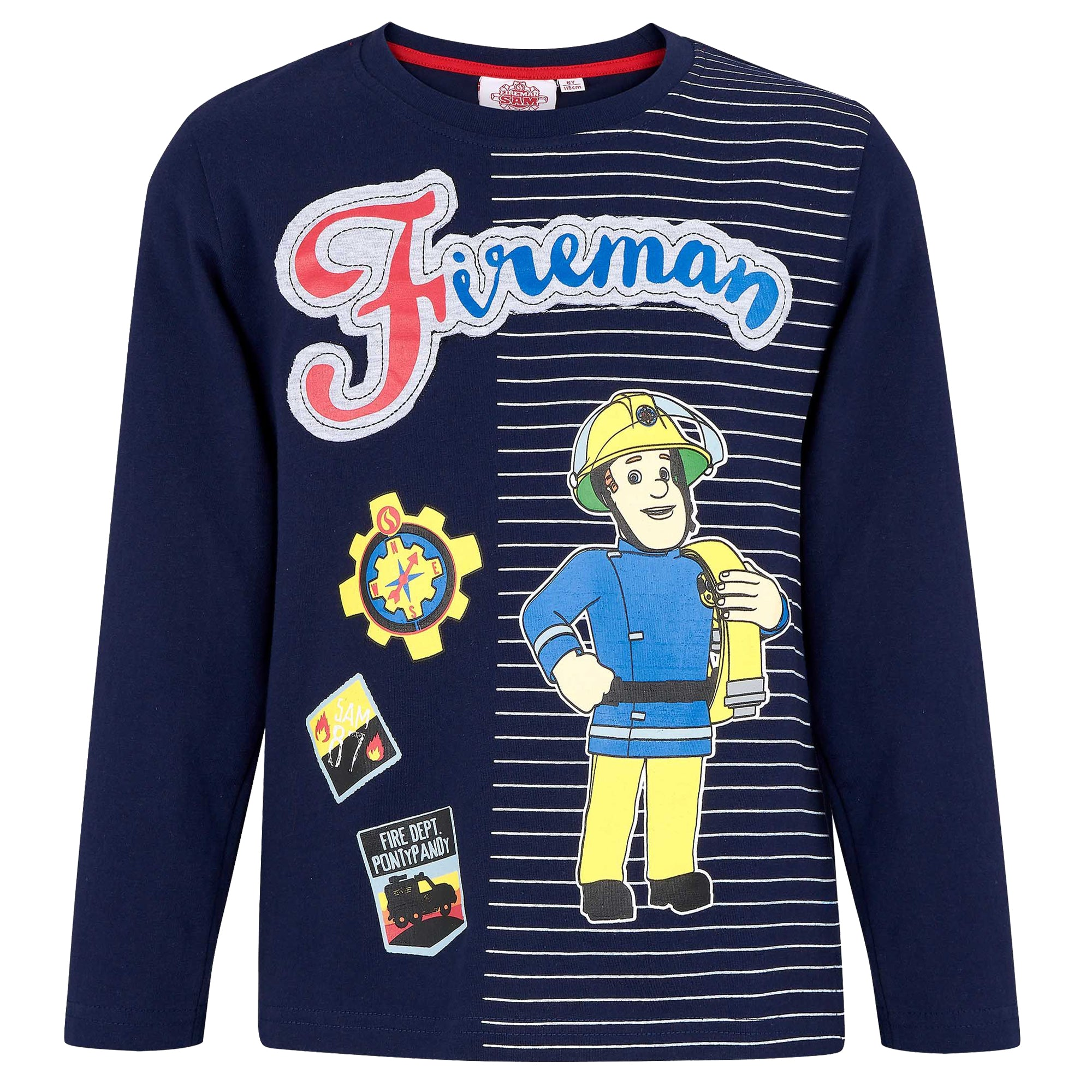 Fireman Sam Boys 100% Cotton Long Sleeve Top, T-Shirt 1-6 Years - Navy