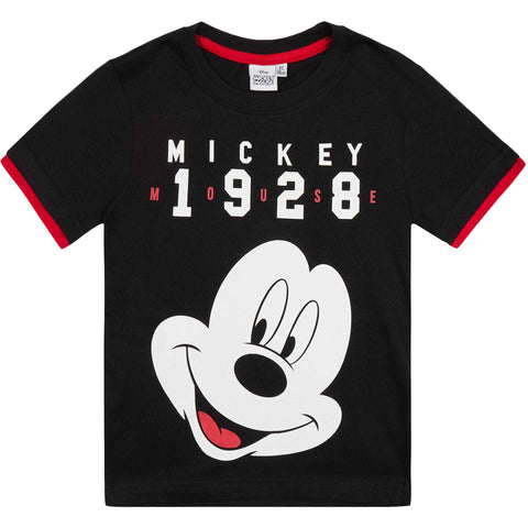 Disney Mickey Mouse Boy's Short Sleeve Jersey T-Shirts 2-8 Yrs - Black