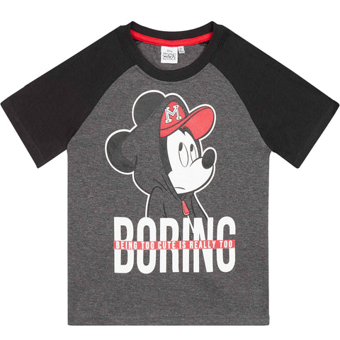 Disney Mickey Mouse Boy's Short Sleeve Jersey T-Shirts 2-8 Yrs - Grey/Black