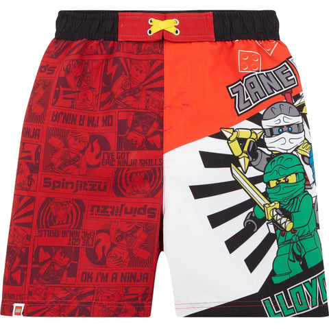 Lego Ninjago Boy's Swimming Trunks / Shorts 3-10 Years - Red