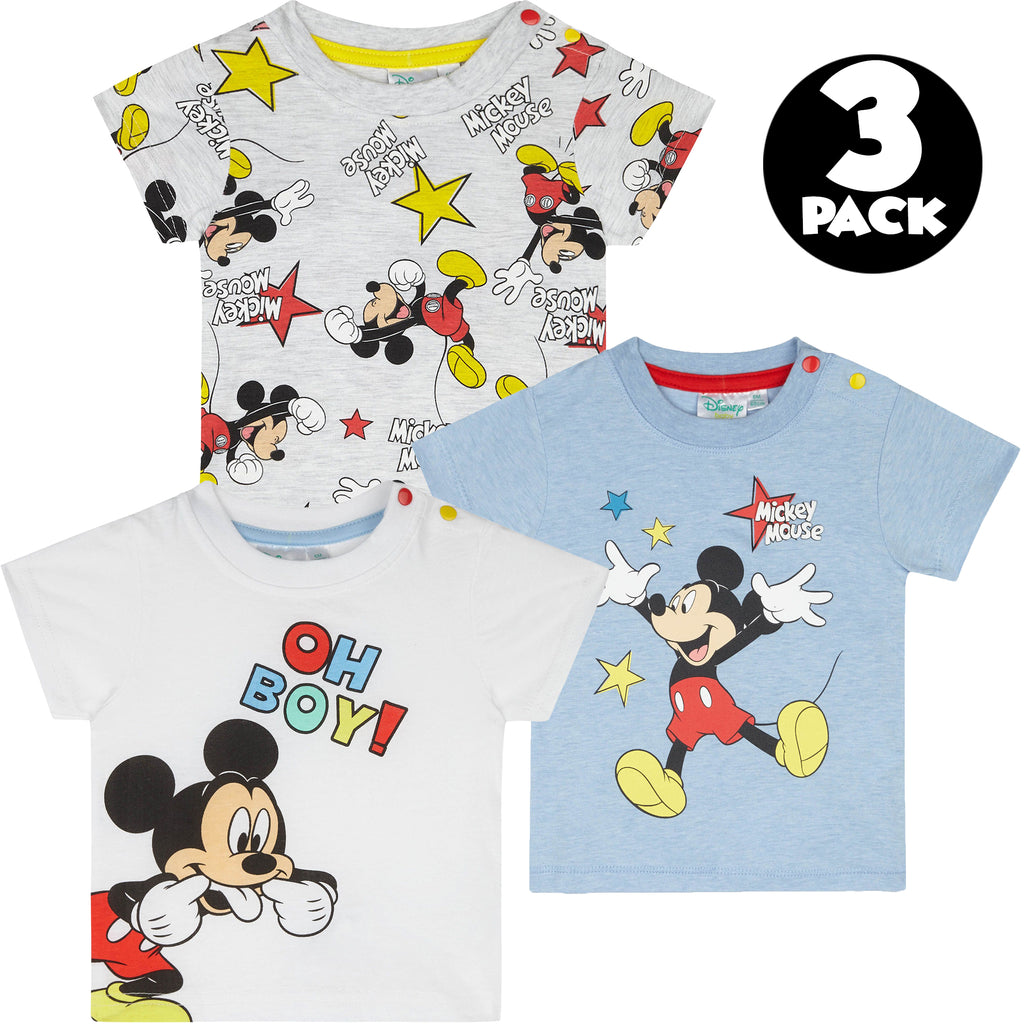Disney Mickey Mouse, Baby 3-PACK of T-Shirts, Tops 0-24 Months