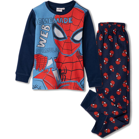 Spiderman Marvel Long Sleeve Cotton Pyjamas Set 5-16 years - Blue