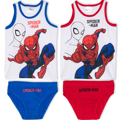 Spiderman Marvel 4 Pcs. Boys Underwear Set - 2x Briefs + 2x Vest 3-9 Years