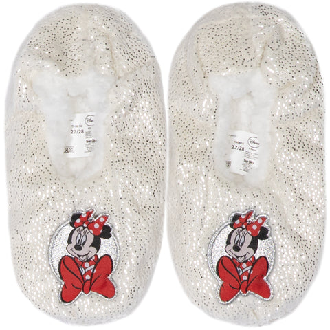 Disney Minnie Mouse Girl's Slippers Warm Cosy Coral Fleece & Sherpa - Off White