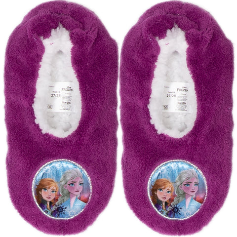 Disney Frozen 2 Girl's Slippers Warm Cosy Coral Fleece & Sherpa - Purple