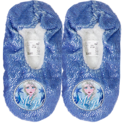Disney Frozen 2 Girl's Slippers Warm Cosy Coral Fleece & Sherpa with Silver Dots - Blue