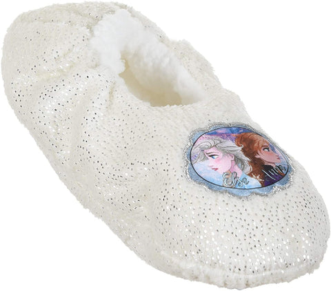 Disney Frozen 2 Girl's Slippers Warm Cosy Coral Fleece & Sherpa with Silver Dots - White