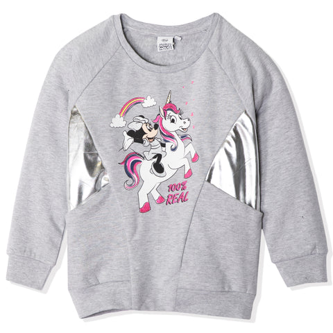 Disney Minnie Mouse & Unicorn Jumper, 100% Cotton for girls 2-8 years - Grey