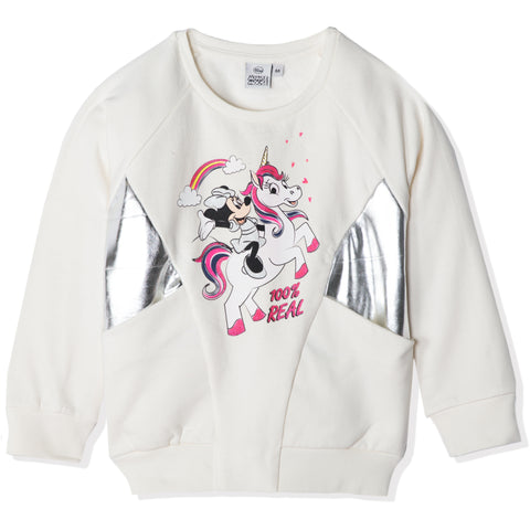 Disney Minnie Mouse & Unicorn Jumper, 100% Cotton for girls 2-8 years - Off White
