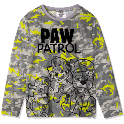 Paw Patrol Cotton Long Sleeve Top, T-Shirt Boys 2-6 yrs - Camouflage Grey