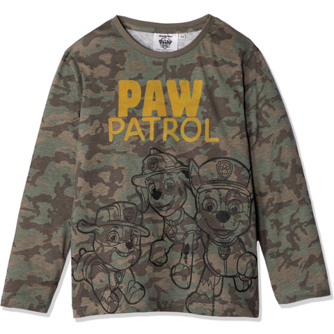 Paw Patrol Cotton Long Sleeve Top, T-Shirt Boys 2-6 yrs - Camouflage Khaki